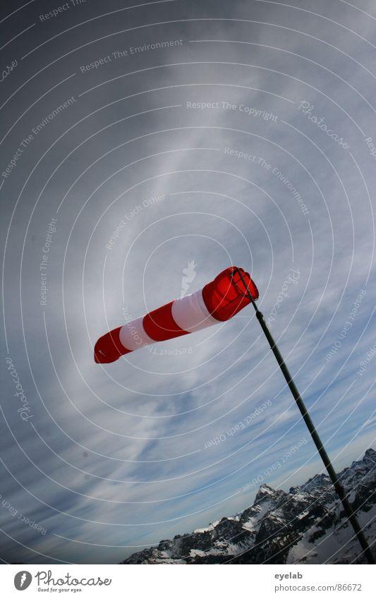 Windschief Tornado rot Stab Gipfel Plattform Windmesser Aussicht Bergstation Wintersport Wetter kalt frieren Berge u. Gebirge Warnhinweis Warnschild