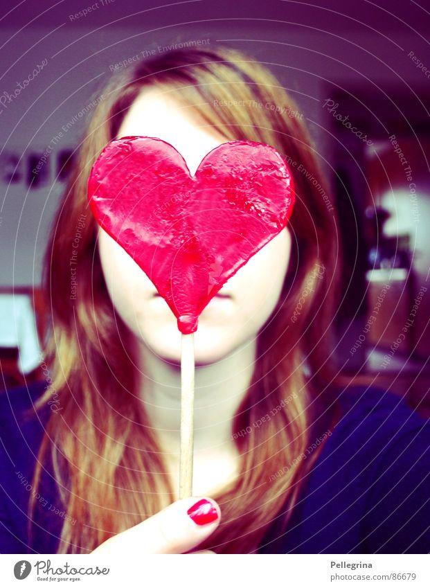 herzschlag Frau blau rot Gesicht Liebe Haare & Frisuren Herz süß verstecken Zucker Valentinstag verdeckt