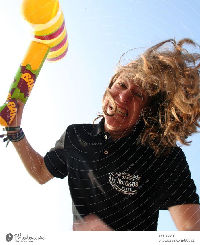 nur gut... Freude Gesicht Sommer Hammer Spielzeug kämpfen lachen Aggression lustig verrückt Wut Kraft Angst Ärger Gesichtsausdruck Geburtstagsgeschenk Grimasse