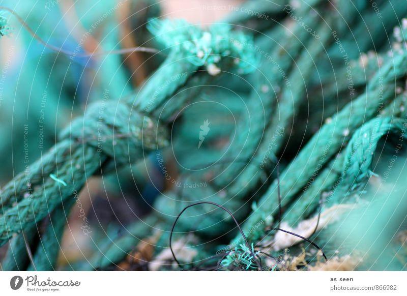 Taue Ferien & Urlaub & Reisen Tourismus Meer Umwelt Schifffahrt Hafen Seil An Bord Netz Netzwerk Knoten liegen Tauziehen alt ästhetisch maritim grün türkis