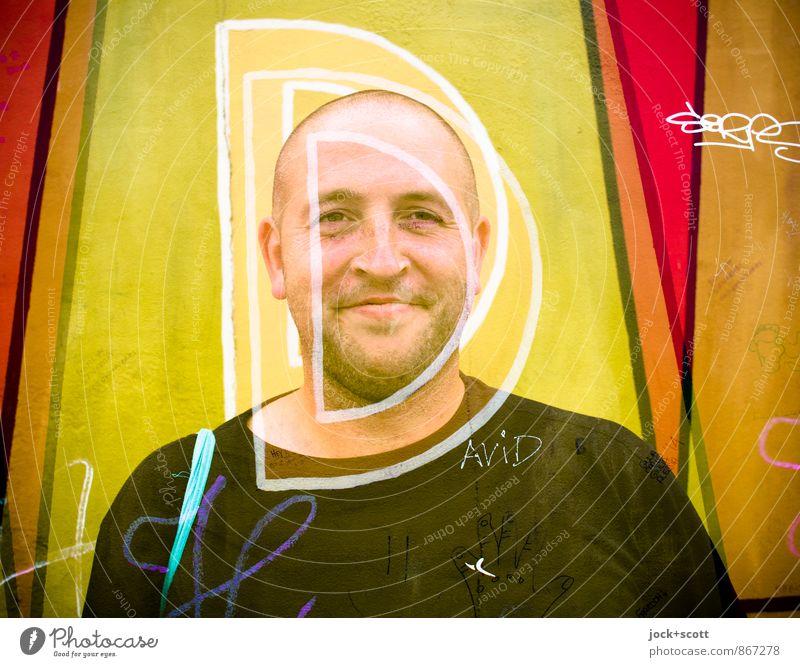 DDDu Mann 1 30-45 Jahre Straßenkunst Berliner Mauer Glatze Dreitagebart Graffiti Lächeln Freundlichkeit lustig Fröhlichkeit Lebensfreude Sympathie Optimismus