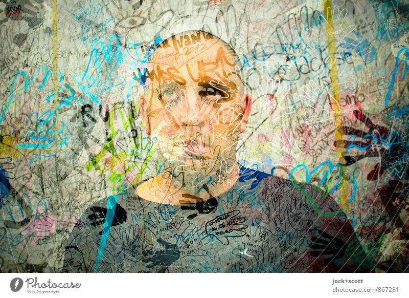 Karma Kameleon Mann Erwachsene Traurigkeit Graffiti außergewöhnlich Schriftzeichen Schmerz Stress exotisch trashig bizarr Surrealismus Menschenmenge Doppelbelichtung Desaster Identität