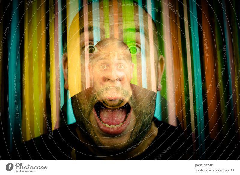 Über-Du Mann 30-45 Jahre Straßenkunst Glatze Dreitagebart schreien außergewöhnlich fantastisch verrückt Euphorie Identität skurril Doppelbelichtung Bewusstsein