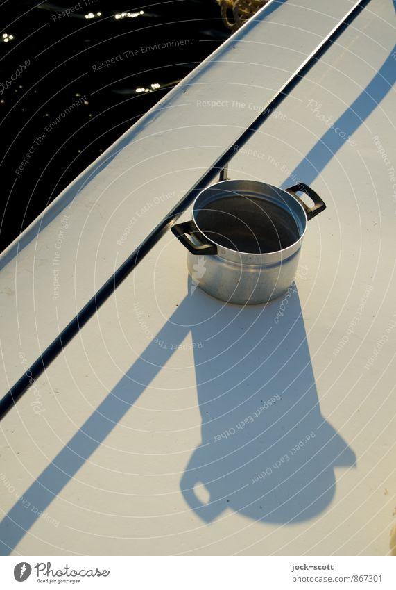 Solarkocher Ernährung Stil Bootsfahrt Sonnenenergie Wasser Sommer Wärme Motorboot Schiffsdeck Topf Stahl Linie gut maritim positiv Sauberkeit trocken