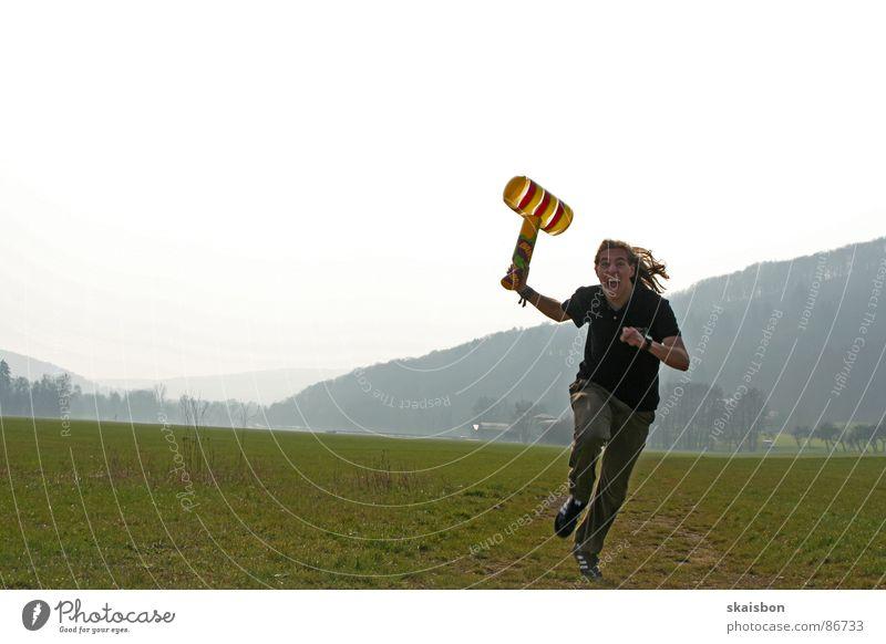 zum angriff Freude Hammer Spielzeug rennen kämpfen laufen Aggression lustig Wut Kraft Angst gefährlich Ärger Krieg Klatschen Kriegsschauplatz attackieren
