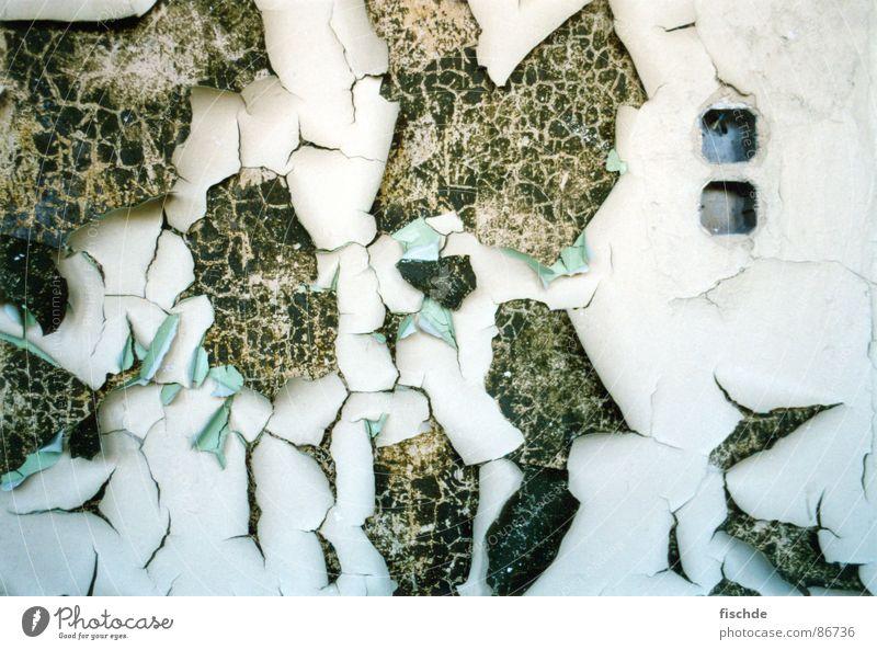 neuer anstrich wär nicht schlecht Farbanstrich Verfall Steckdose kaputt grün Loch Sanieren Anstrich verfallen abgelegen Riss Einsamkeit brechen abrissreif