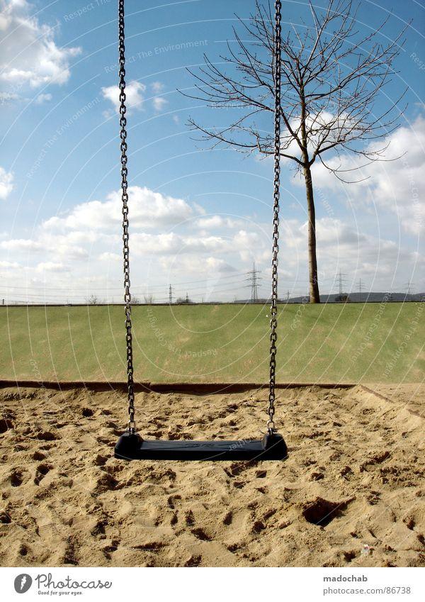 VERLORENE KINDHEIT Kinderspiel Schaukel Sandkasten Einsamkeit geisterhaft verloren desolat wiegen Wolken taumeln Ödland Gefühle Freizeit & Hobby Frieden
