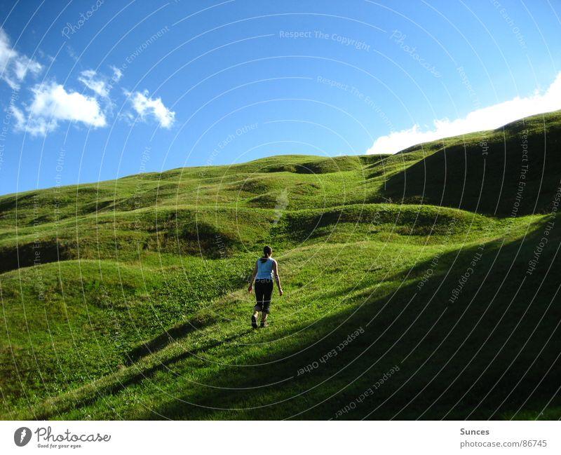 grüne Wiese grün Wolken Wiese Berge u. Gebirge wandern Alm Blauer Himmel Bergwiese