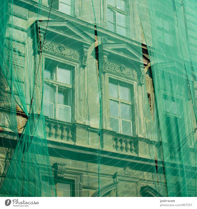 grüner planen Stadt Sommer Fenster Stil Zeit elegant Beginn Streifen Baustelle historisch Netz Glaube Balkon nachhaltig