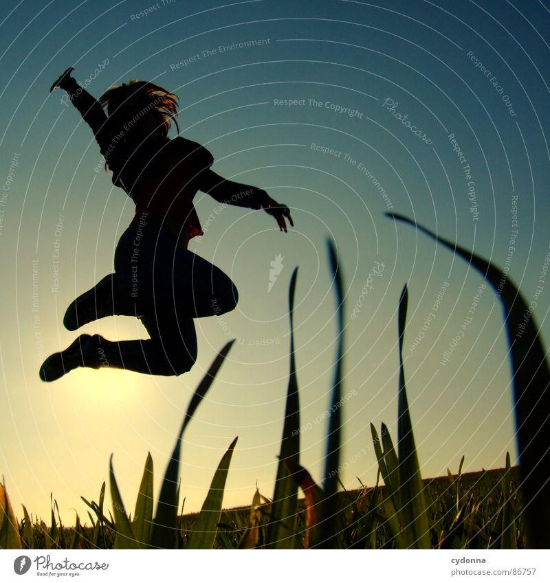 Hoch hinaus Frau Mensch Natur Sonne grün Freude Wiese Gefühle Stil Gras Frühling Freiheit Landschaft fliegen Körperhaltung Halm