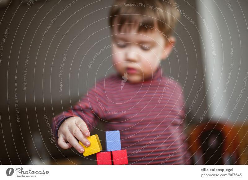 Babel Mensch Kind rot Junge Spielen liegen maskulin Kindheit lernen berühren Spielzeug Konzentration Kleinkind Quadrat Kindergarten bauen