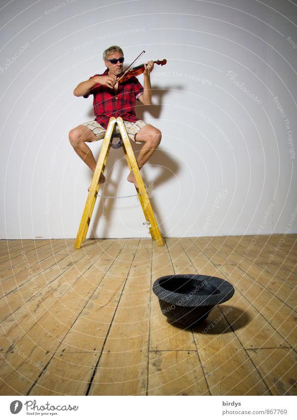 Geige spielender Straßenmusiker auf einer Stehleiter und einem leeren Hut . Musiker Mann Erwachsene 1 Mensch 30-45 Jahre 45-60 Jahre Künstler Geiger Shorts Hemd
