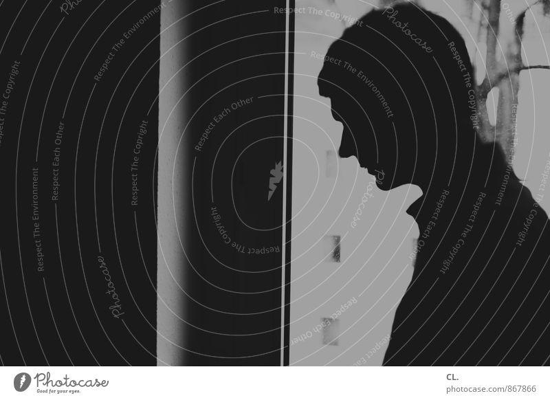 profil Freude Häusliches Leben Wohnung Raum Fenster Mensch maskulin Mann Erwachsene Kopf Gesicht 1 30-45 Jahre dunkel einzigartig Sorge Müdigkeit Enttäuschung