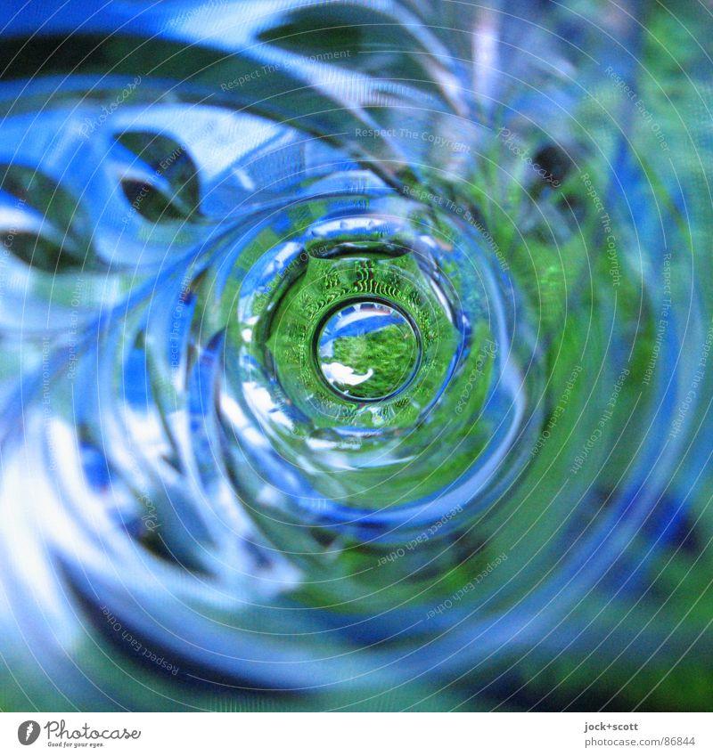 Grüße nach Island mit Blick ins Glas Dekoration & Verzierung Krimskrams Souvenir Vase Linie träumen außergewöhnlich Ferne rund unten blau grün Stimmung