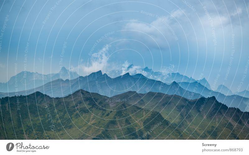 Alpenpanorama Himmel Natur Ferien & Urlaub & Reisen blau grün Sommer Landschaft ruhig Wolken Ferne Berge u. Gebirge Freiheit außergewöhnlich braun Kraft Idylle