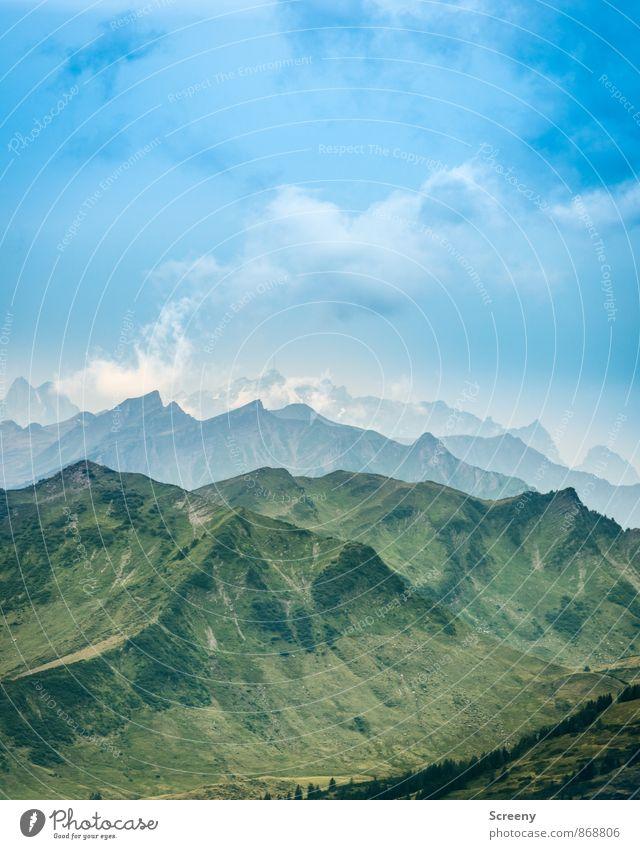 In den Alpen... Himmel Natur Ferien & Urlaub & Reisen blau grün weiß Sommer Landschaft ruhig Wolken Ferne Berge u. Gebirge Stimmung Kraft Idylle Tourismus
