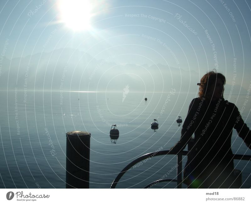 unendlichkeit Frau Wasser Sonne Meer Ferne See Wind Unendlichkeit Steg