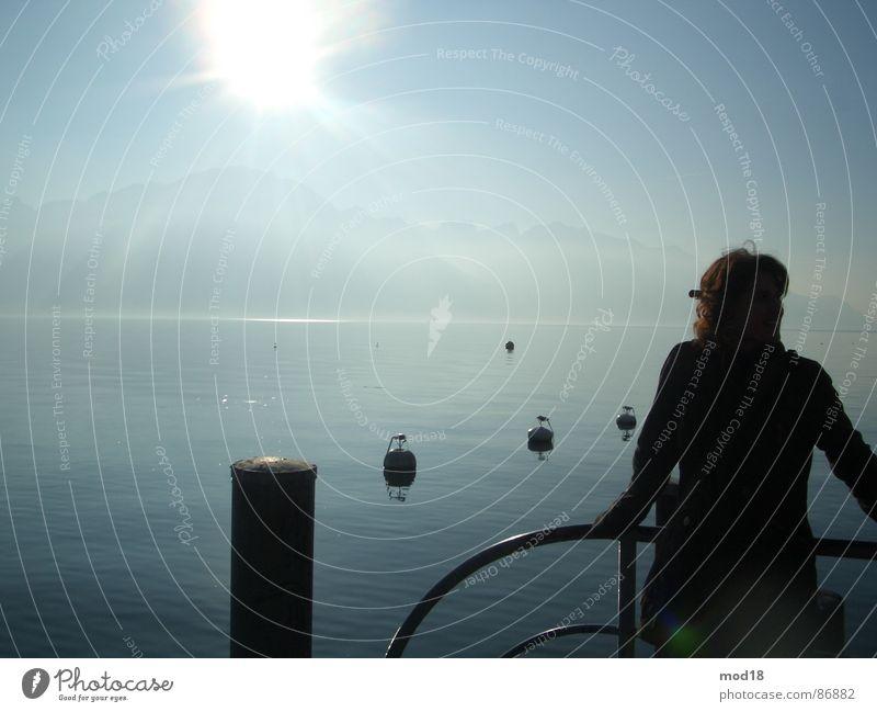 unendlichkeit See Steg Frau Ferne Unendlichkeit Meer Morgen Wasser Sonne Wind Morgendämmerung