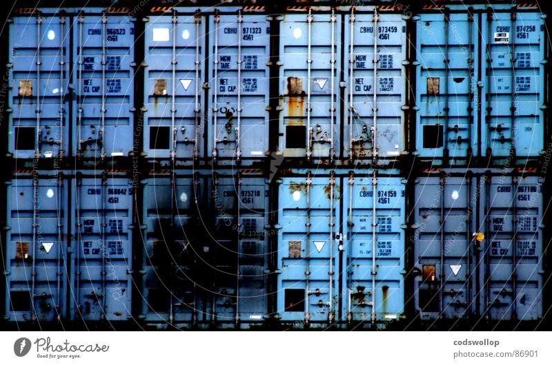 zwö mal vier blau Industrie Güterverkehr & Logistik Hafen Schifffahrt 8 Container Ladung hell-blau Containerterminal Reederei