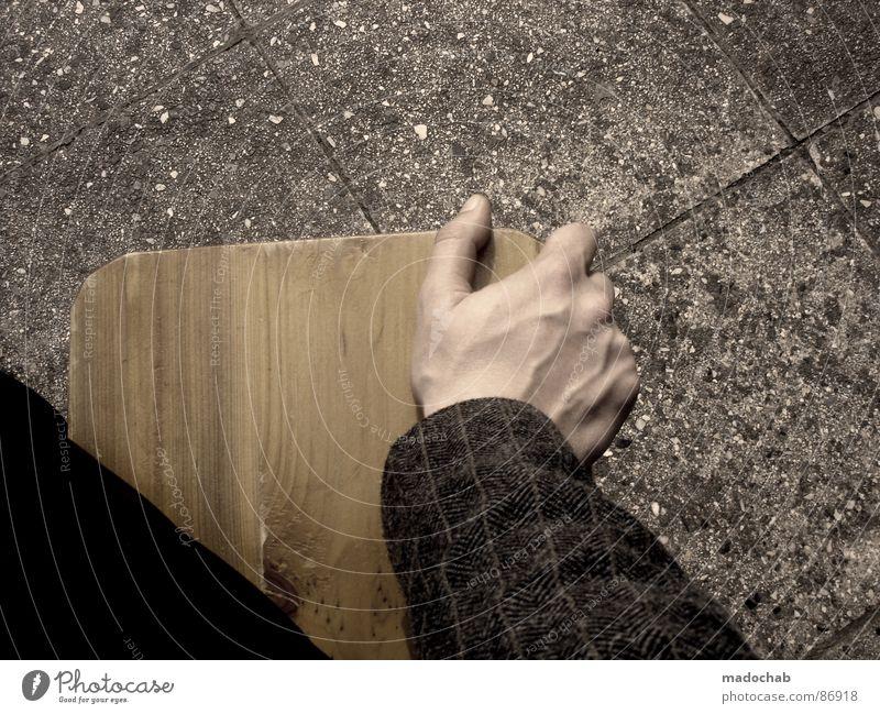 ICH KANN WARTEN, BOING Hand Holz Holzbank Muster aufstützen abstützen festhalten warten Pause Sitzgelegenheit loslassen Erholung Wunsch Mensch maskulin Mahlzeit