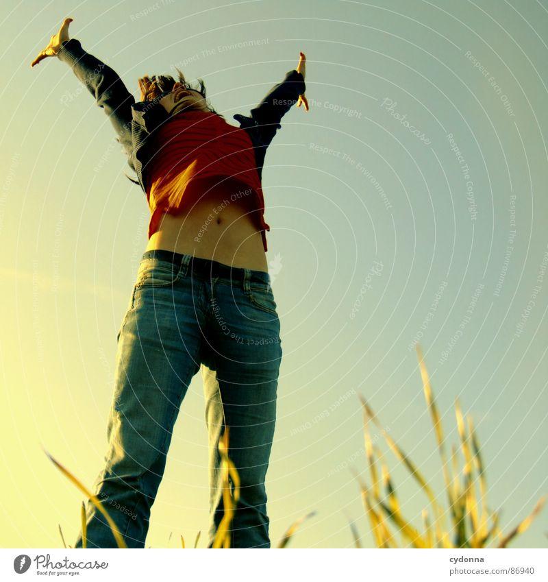 Hoch hinaus IV hüpfen Frühling Wiese Gras grün Stil Sonnenuntergang Körperhaltung Halm Froschperspektive Frau Sonnenstrahlen Gefühle Mensch fliegen Freude Natur