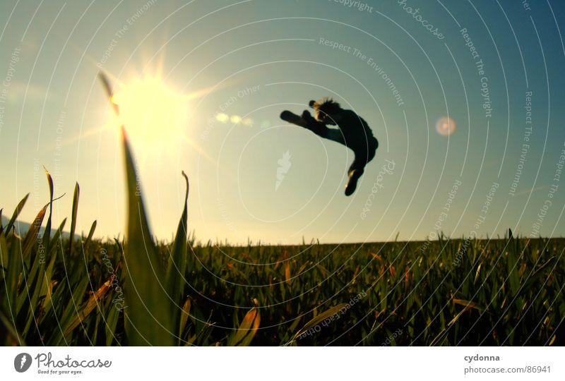 The Bruce Lee Story hüpfen Wiese Gras grün Stil Sonnenuntergang Körperhaltung Halm Froschperspektive Sonnenstrahlen Kick Fußtritt Kampfsport Gefühle Mensch