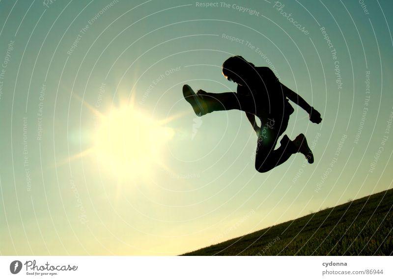 The Bruce Lee Story III hüpfen Wiese Gras grün Stil Sonnenuntergang Körperhaltung Halm Froschperspektive Sonnenstrahlen Kick Fußtritt Kampfsport Gefühle Mensch