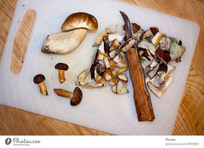 nach dem pilzspaziergang. Lebensmittel Ernährung Vegetarische Ernährung Messer Umwelt Pflanze Erde Herbst Wald Holz Metall Kunststoff Essen ästhetisch braun