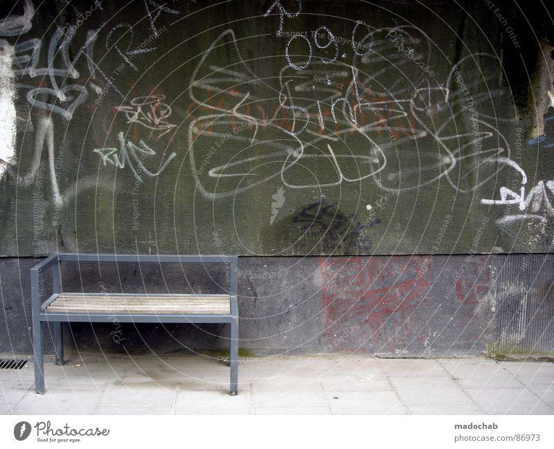 BILDERBUCHIDYLLE Sitzgelegenheit Graffiti Opportunismus Anpassung sortieren unterordnen einfach getrimmt stimmen Anomalie Verschiedenheit unterwerfen Management