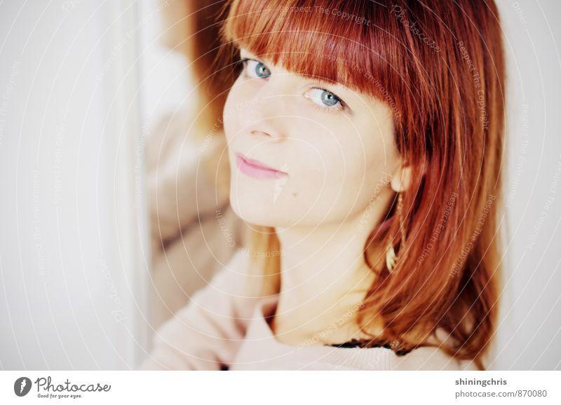 good hair day schön Haare & Frisuren feminin Junge Frau Jugendliche Gesicht 1 Mensch 30-45 Jahre Erwachsene Ohrringe brünett langhaarig Pony Lächeln Blick