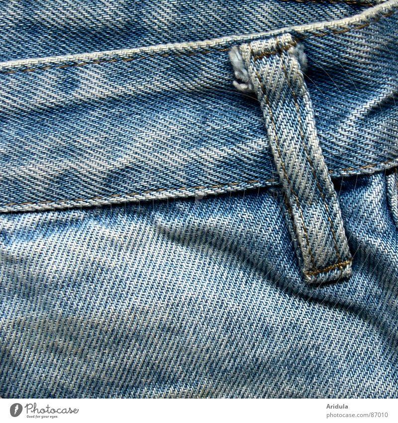 jeansschlaufe Stoff Muster Bekleidung Jeanshose Jeansstoff indigo Bündel Falte Strukturen & Formen Baumwolle