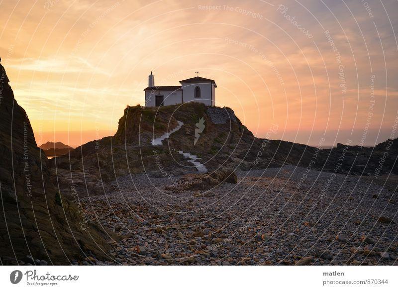 kreuzweise l save our souls Himmel weiß Sommer Meer rot Landschaft Wolken Küste grau Sand braun Felsen rosa Wetter orange Treppe