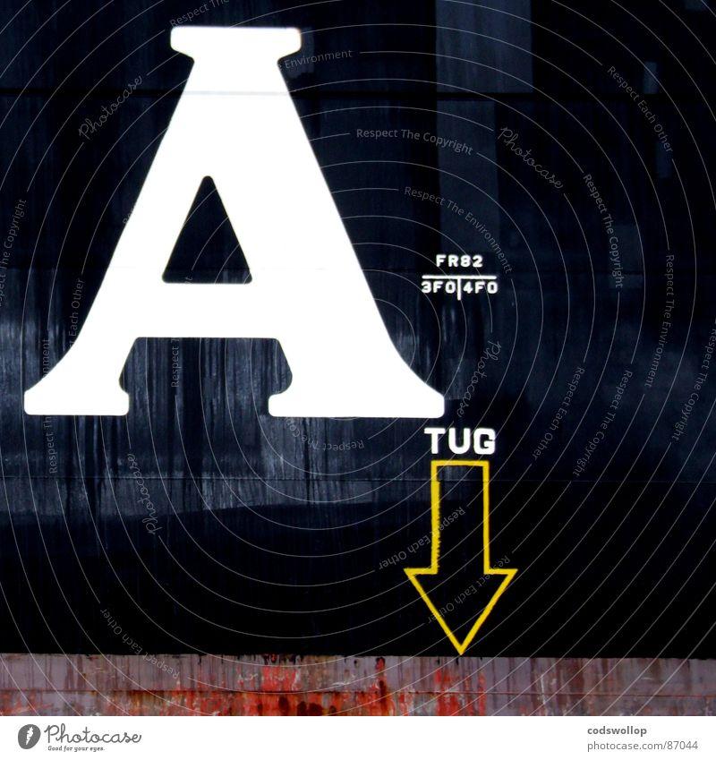 A gelb Wasserfahrzeug Hintergrundbild Industrie Ziffern & Zahlen Hafen Buchstaben Pfeil unten Typographie Schifffahrt ziehen graphisch Logo Symbole & Metaphern
