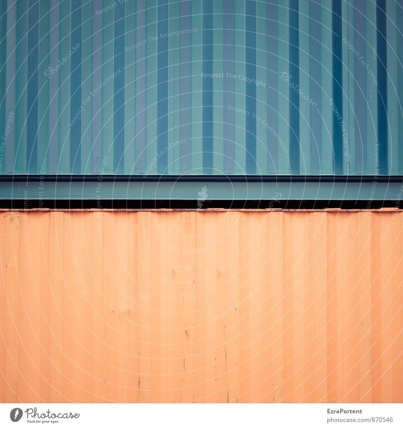 Container Love Technik & Technologie Verkehr Metall Stahl Linie Streifen blau orange Farbe Kombination gerade Design Grafik u. Illustration