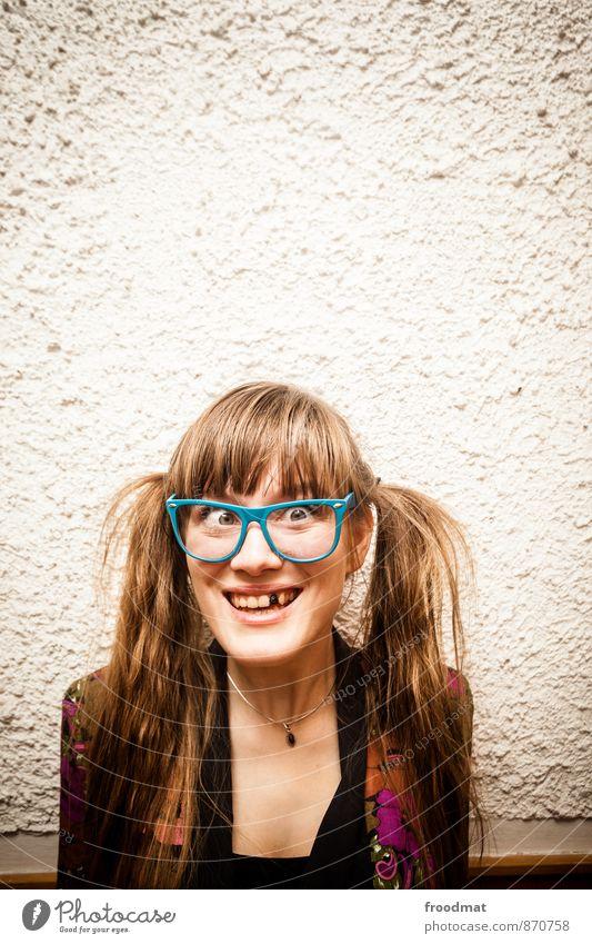 she's got the look Party Geburtstag Mensch feminin Junge Frau Jugendliche Erwachsene 1 Accessoire Brille brünett blond langhaarig Zopf lachen schön lustig