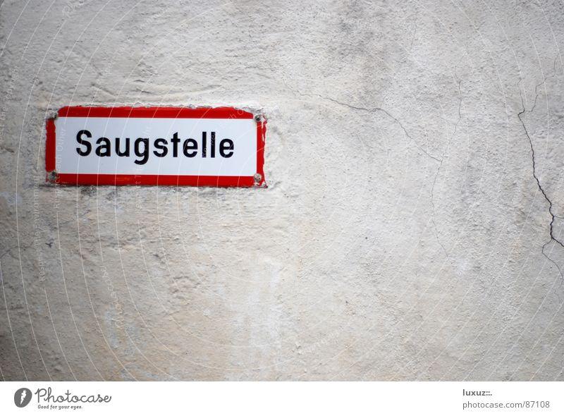 Saugen Wasser Wand Mauer Schilder & Markierungen Schriftzeichen Platz Hinweisschild Zeichen Brand Buchstaben Typographie Putz spritzen Schlauch lutschen