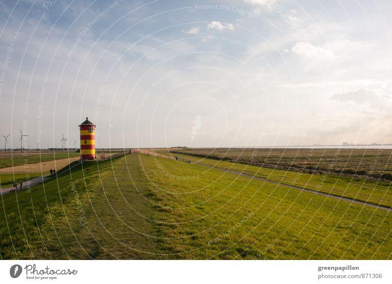 Pilsumer Leuchtturm Erholung Kur Ferien & Urlaub & Reisen Ausflug Ferne Sommerurlaub Strand Meer wandern Jogger Fahrradfahren Landschaft Himmel Küste Nordsee