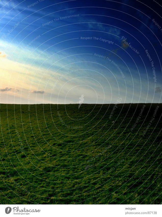 dort hinten wirds hell weiterkommen 50% Horizont fade Flucht Aussicht Fernweh Wiese Feld Verlauf Licht gelb grün zweiteilig 2 himmlisch Platz