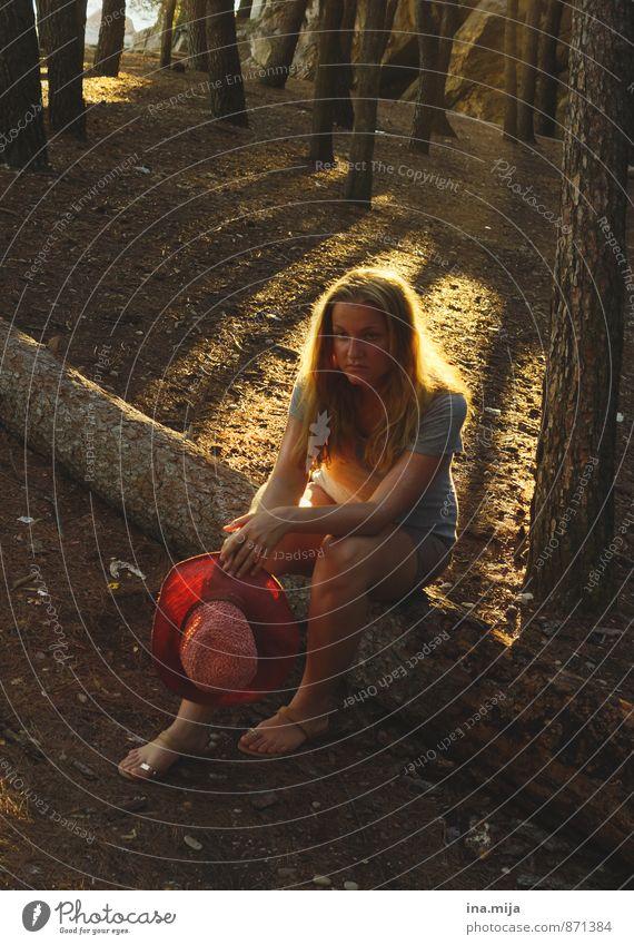 Wohin führt dieser Weg? Mensch Natur Ferien & Urlaub & Reisen Jugendliche Sommer Einsamkeit Erholung Junge Frau ruhig 18-30 Jahre Wald Umwelt Erwachsene feminin Freiheit blond