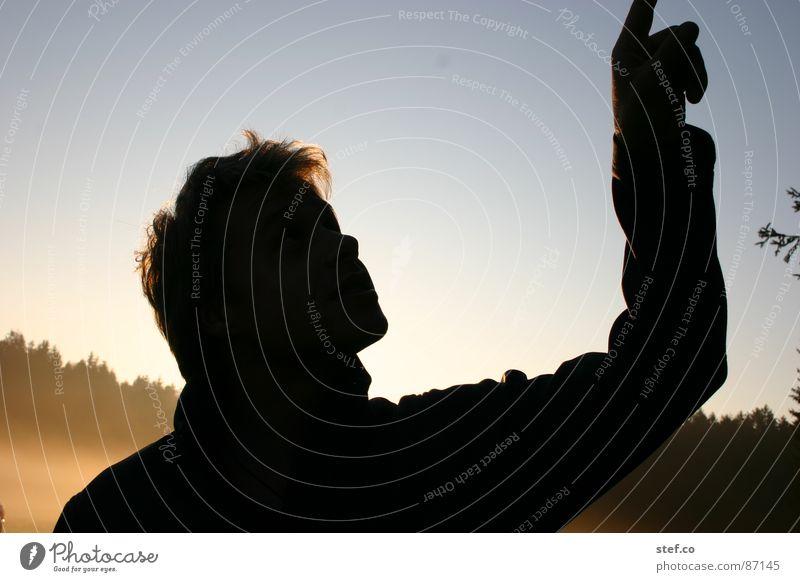Himmelszeiger Mann Hand Sonne schwarz oben Haare & Frisuren Finger selbstgemacht