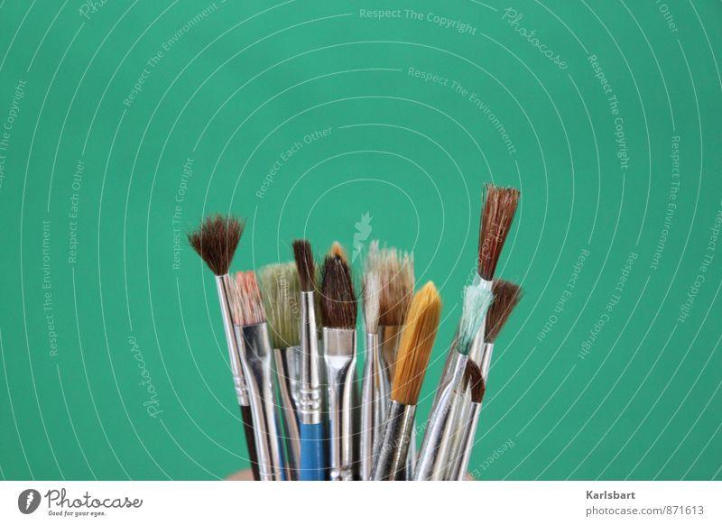 Pinseln grün Farbe Kunst Schule Freizeit & Hobby Häusliches Leben Design Kreativität Idee malen Bildung streichen Erwachsenenbildung Leidenschaft zeichnen