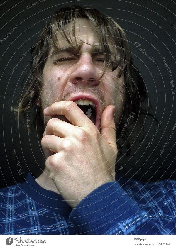 gut geschlafen? Mann Haare & Frisuren Graffiti lustig Geschwindigkeit geschlossen neu Bett kaputt lang Müdigkeit Selbstportrait fertig Schwäche