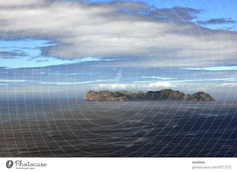 streaming Landschaft Wasser Himmel Wolken Horizont Sommer Klima Wetter Schönes Wetter Berge u. Gebirge Wellen Küste Riff Meer Insel blau braun weiß Ferne
