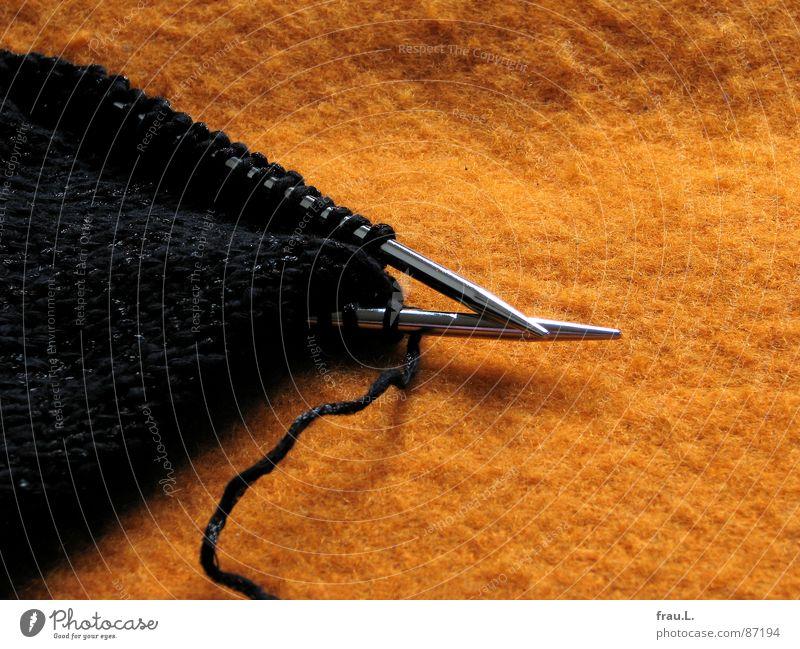 Strickzeug Erholung orange Kunst glänzend Bekleidung Freizeit & Hobby Handwerk Decke links rechts Wolle Nadel altmodisch Schlaufe Baumwolle