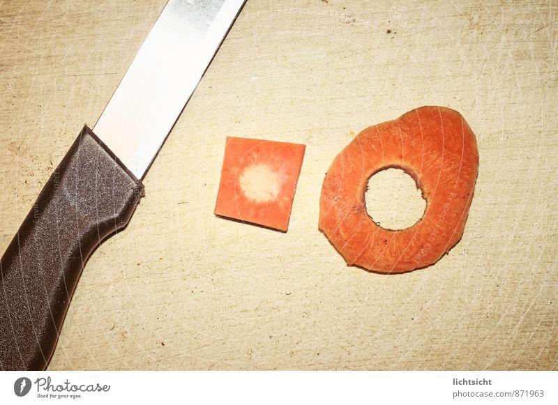 Tomaten schälen Holz Lebensmittel orange Dekoration & Verzierung Ernährung Idee rund Kochen & Garen & Backen Zeichen Symbole & Metaphern Gemüse Holzbrett