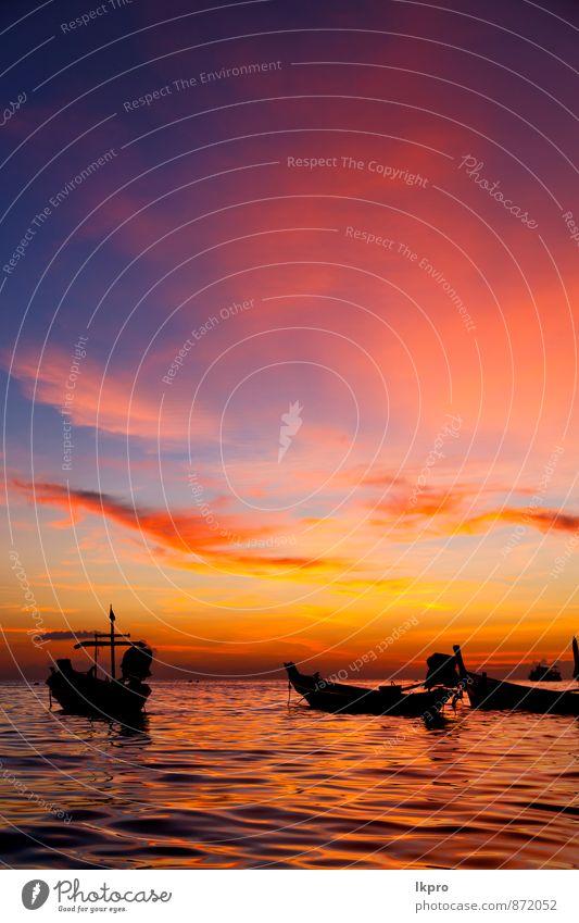 Himmel Natur schön Farbe Wasser Sonne Meer Erholung rot Wolken Freude Strand Berge u. Gebirge gelb Gefühle Küste