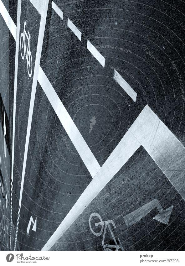 Fächerweise Asphalt Straße Spielen Kraft Ordnung Schilder & Markierungen Verkehr modern Macht planen Schutz Asphalt Wut Straßenbelag Fahrzeug Gasse Geometrie