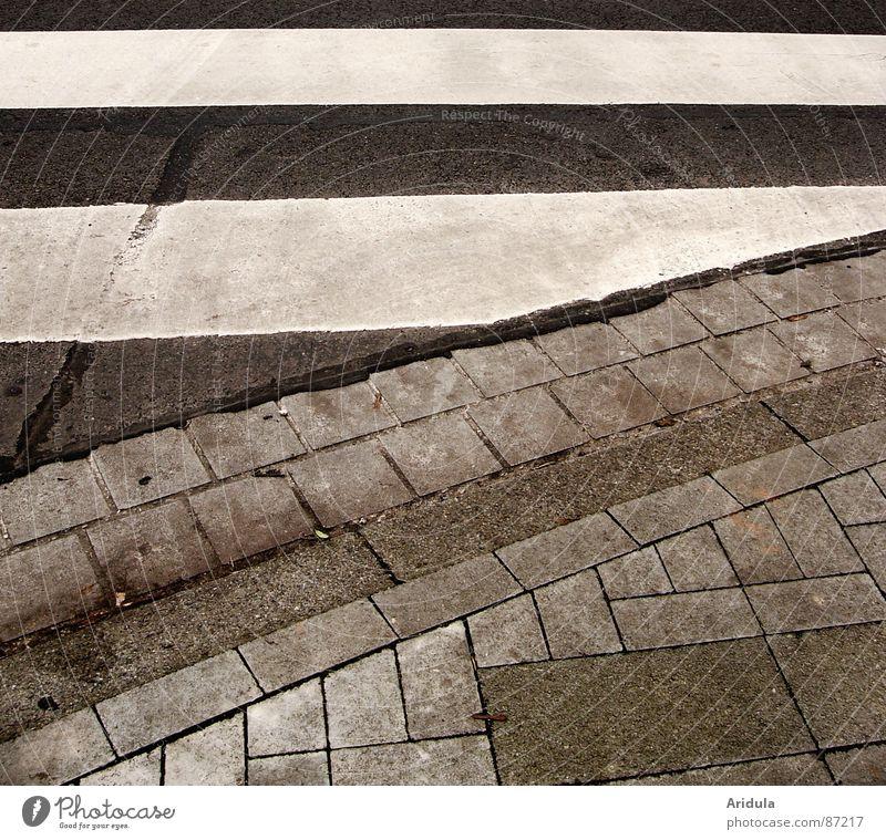 strassengrafik Zebrastreifen Überqueren Streifen grau Straßenbelag Verkehrswege Stein Mineralien Schwarzweißfoto Wege & Pfade Bürgersteig