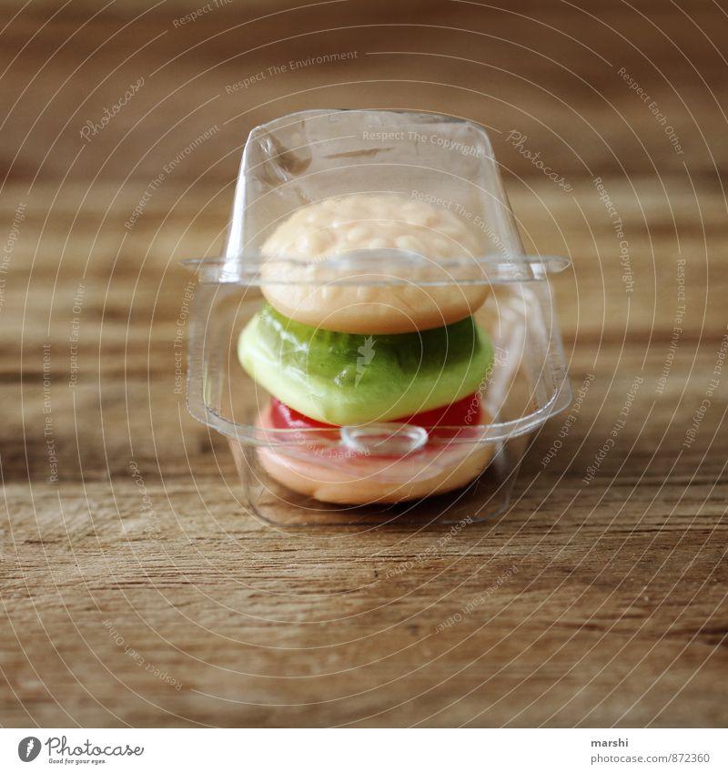 MiniSnack Lebensmittel Salat Salatbeilage Süßwaren Ernährung Essen Mittagessen Fastfood Gefühle Stimmung Hamburger klein Verpackung Holzbrett Mahlzeit