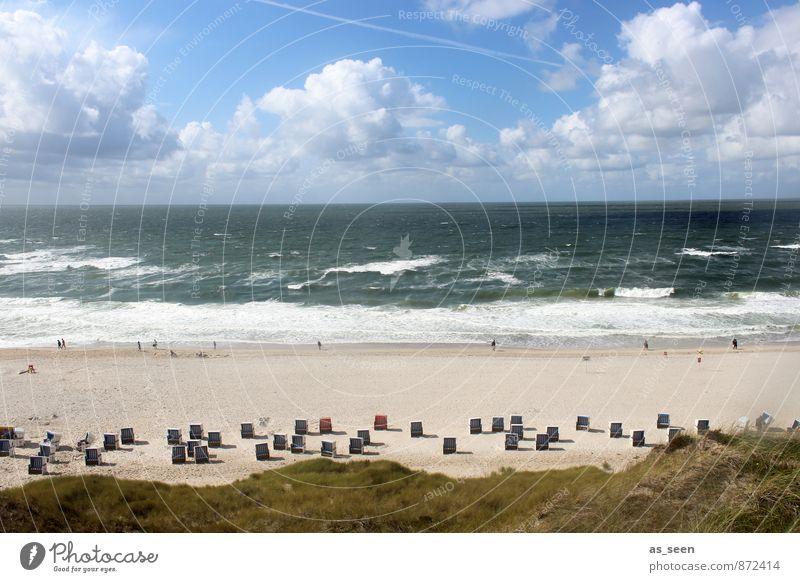 Dem Himmel so nah Mensch Umwelt Natur Landschaft Sand Luft Wasser Wolken Klima Schönes Wetter Wellen Küste Nordsee Strandkorb Schwimmen & Baden Erholung